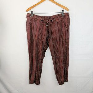 Prana Steph Red Striped Linen Jogger Pants